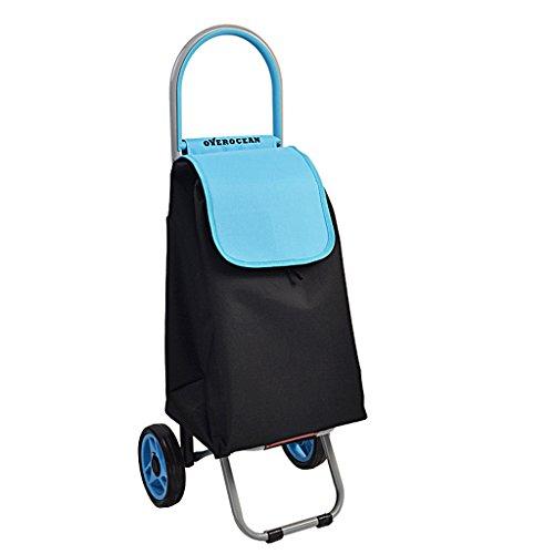 Carretilla de compras liviana, resistente al desgaste y plegables para un fácil almacenamiento (Color : Blue)