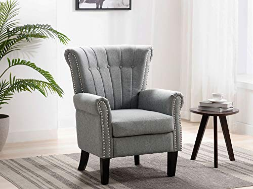 Altrobene Fabric Accent Arm Chair, Modern Club Chair for Living Room Bedroom Home Office, Channel-Tufted, Nailhead Trim, Grey