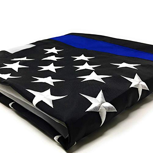 Thin Blue Line Flag: 3x5 ft with Embroidered Stars - Sewn Stripes - Brass Grommets - UV Protection - Black White and Blue American Police Flag Honoring Law Enforcement Officers