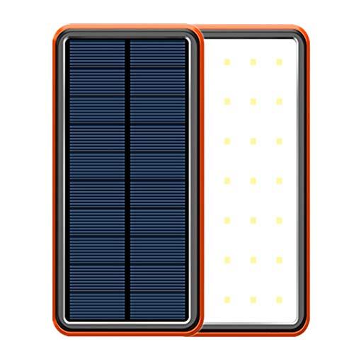 Cargador Solar Móvil 40000Mah Power Bank Batería Externa Banco De Energía Portátil,18W 4 Puertos De Salida 28 LED Linterna, USB Cargador Rápido De Teléfono Celular Para Viajes, Camping, Etc,Naranja