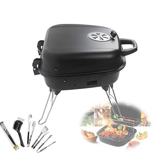 Draagbare Houtskool Houtskoolgrill Barbecue, Multifunctionele Barbecue Bakplaat, BBQ Picknickfeest Dual Netwerk Ontwerp Geschikt Voor Huishoudelijke Non-Stick Barbecue Grill