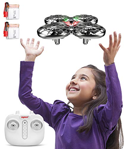 SYMA Kids Hand Operated Drones X100 Quadcopter with Auto-Avoid Obstacles,Safety Covered by Shell,360°Flip, LED Light, 2 Speed for Kids, Boys and Girls Toys(Gray)