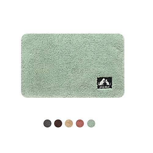 DXIA Alfombra de Baño Antideslizante, Alfombrilla de Baño Absorbente, Tapete para el Piso Lavable a Máquina, Microfibras Suaves Absorbentes de Agua, para Cuarto de baño, Inodoro (Verde, 40X60cm)