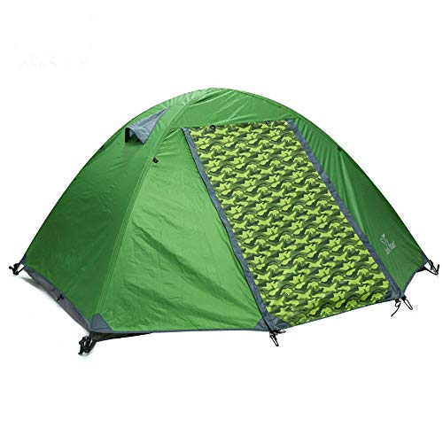 Family Tent Large Size Tent Waterproof Sunscreen 2 Person Camping Tent Double Layers Aluminum Rod 3 Season Outdoor Travel Outdoor Tent (Color : Green, Size : 82.6 x 48 x 32.3inch)