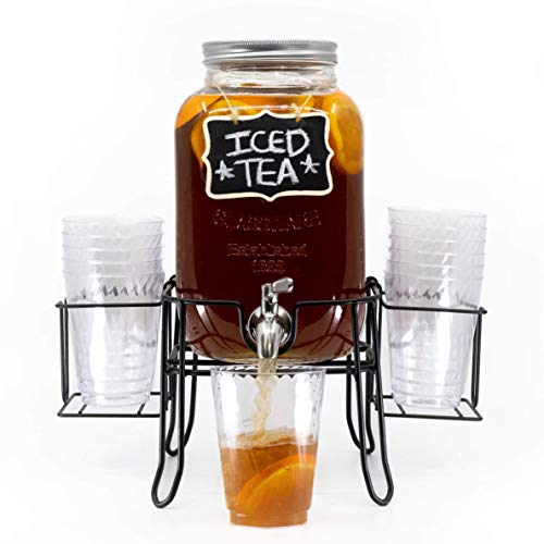 4 Kitchen One Gallon Glass Beverage Dispenser with Leak-Free Stainless Steel Spigot | Includes Sturdy Metal Stand, Chalkboard, and Cup Holder | Great for Outdoor Parties | Perfect for any Cold Drink