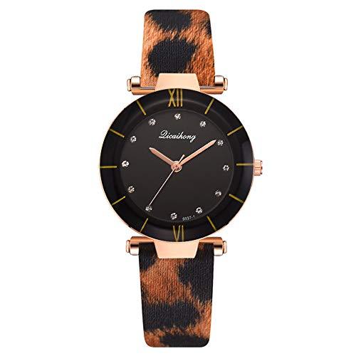 Reloj de Mujer Nuevo Reloj de Cuarzo para Mujer Reloj para Mujer Pulsera con Estampado de Leopardo Reloj clásico para Mujer Tendencia Casual Pulsera de PU Reloj Retro