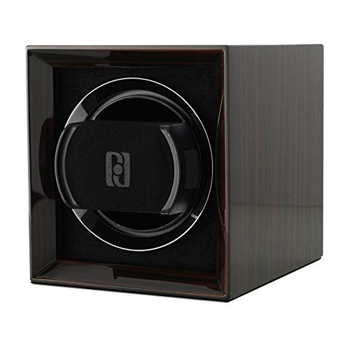 Compact Single Watch Winder Box for Winding 1 Automatic Watch with LCD Touchscreen Display and Rechargeable Battery for All Watch Brands and All Watch Sizes (Macassar)