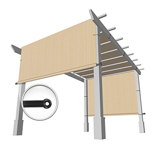 Windscreen4less 10' x 16' Universal Replacement Shade Cover Canopy for Pergola Patio Porch Privacy Shade Screen Panel with Grommets on 2 Sides Includes Weighted Rods Breathable UV Block Beige Tan