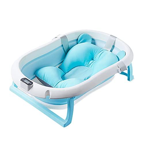 SONARIN Faltbare Baby Badewanne mit Echtzeit-Temperaturmessung,Tragbare Anti Rutsch Badewanne für Babys,Baby-Duschwanne mit Sicherheitsbadesitz Ablassschraube für Neugeborene,Kleinkinder(Blau)