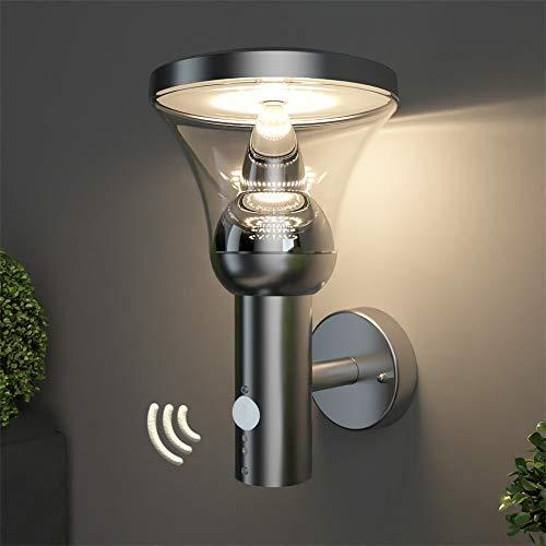 NBHANYUAN Lighting® LED Außenleuchte mit Bewegungsmelder Aussenwandlampen Silber Edelstahl 3000K Warmweiß Licht 220-240V 1000LM 9.5W IP44 (mit PIR Sensor)