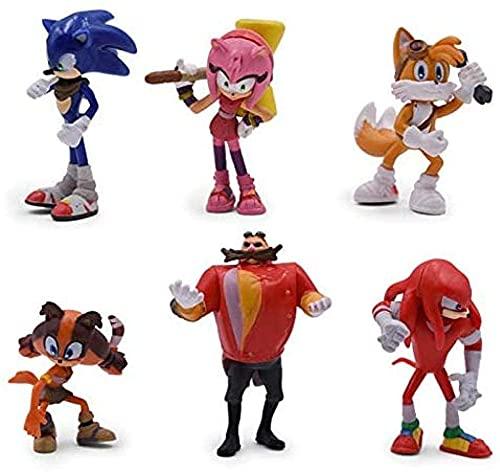 ソニック6個/セットドールアニメフィギュアおもちゃ生成ブームレアルDr Eggman Shadow PVCおもちゃ子供キャラクターギフト4-7cm
