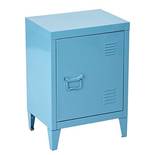 HouseinBox Metal Storage Locker with Handle 2 Tier Cabinet Shelves, Filing Storage, End Side Table Bedside Stand,Detachable 4 Legs,Size:15.9'' x 12'' x 22.6'',Blue