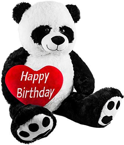 Brubaker XXL Panda 100 cm groß mit einem Happy Birthday Herz Stofftier Plüschtier Kuscheltier Teddybär