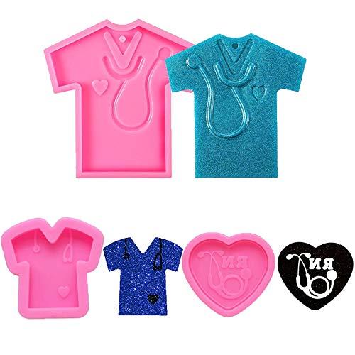 Kalolary 3 piezas de camiseta con tema de doctor llavero de resina hecho a mano llavero molde de azúcar flexible para manualidades, adornos de bolsa de escuela, decoración de pasteles