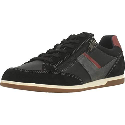 Geox U Renan C, Zapatillas Hombre, Negro (Black/Dk Red C0260), 45 EU