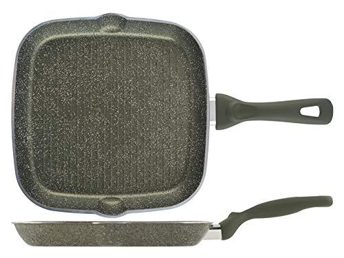Parrilla Energy de aluminio con revestimiento antiadherente, 28 cm, para inducción, fabricada en Italia