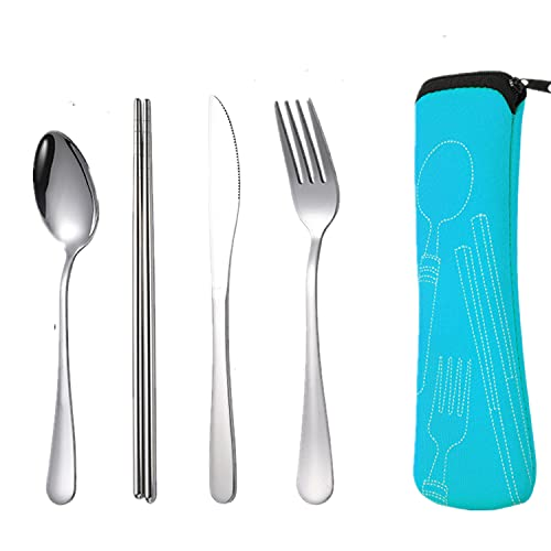 4Pcs Cutlery Set, Portable Reusable Stainless Steel Flatware Set, with Knife, Fork, Spoon, Chopsticks, Portable Utensils for Travel Camping with Organizer Bag (Blue)