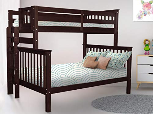 Bedz King Bunk Beds Twin Over Full Mission Style with End Ladder, Dark Cherry