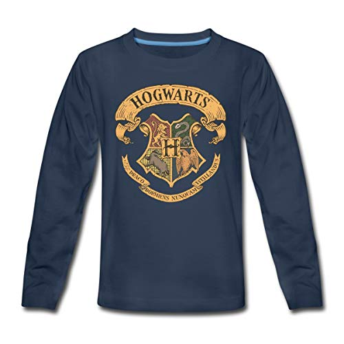 Harry Potter Hogwarts Wappen Teenager Premium Langarmshirt, 146-152, Navy