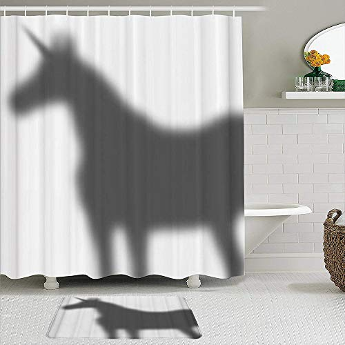 MIGAGA Shower Curtain Sets with Non-Slip Rugs,Unicorn's Shadow Pattern,Exquisite Pattern Waterproof Bath Curtains Hooks and Bath Mat Rug Included