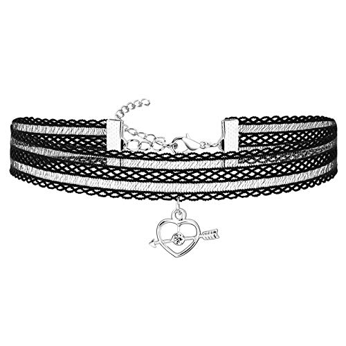 Adokiss Jewellery Choker Lace, Heart Arrow Cubic Zirconia Choker Necklace, Punk, Silver, Black, Length 33.7 + 5.5 cm, Collar for Teen Girls Women