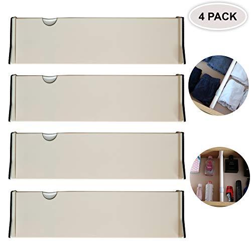 Pack 4 Divisores de Cajones - Separador Cajones Plástico Ajustable - Sistema Extensible Ordenar Cajones - Apto para Cocina, Baño, Dormitorio, Escritorio de Oficina y Tocador (28cm a 44,5cm de Largo)