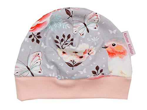 Kleine Könige Mütze Baby Mädchen Beanie · Mitwachs-Funktion · Modell Vögel Birds grau, Altrosa · Ökotex 100 Zertifiziert · Größen 98/104