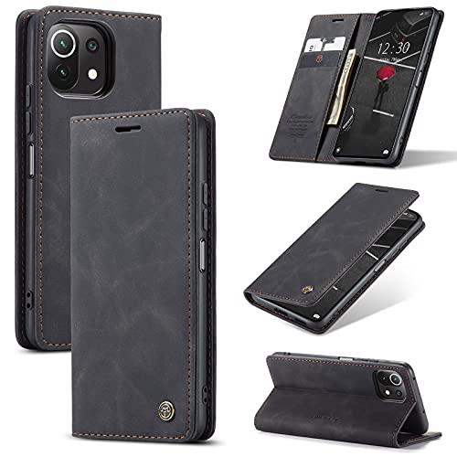 UFinetech Hülle für Xiaomi Mi 11 Lite, Leder Dünn Handyhülle Xiaomi Mi 11 Lite 5G, TPU Flip Magnetisch Ständer Kartenfächer Klappbar Stoßfest Kratzfest Tasche Kameraschutz Hülle Schutzhülle, Schwarz