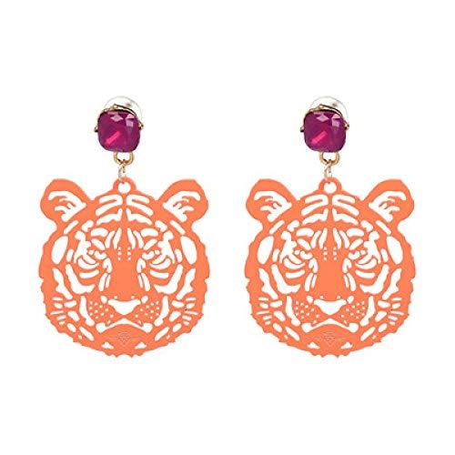 YBFZW Oorbel, Oranje Boheemse Mode Verklaring Drop Tijger Hoofd Oorbellen Hars Grote Oorbel Grote Brinco Oor Accessoires Oorbellen
