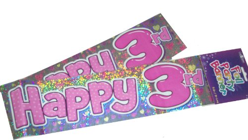 Pink Happy 3rd Birthday Party Wall Banner 3 Banners 3 Today Party Decoration by The fancy dress and party store