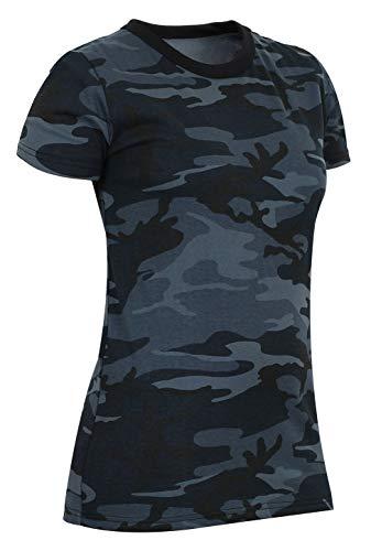 Rothco Womens Long Length Camo T-Shirt, Midnight Blue Camo, XL
