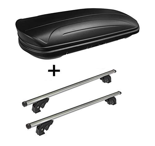 VDP Dachbox VDPMAA320 320Ltr abschließbar schwarz matt + Dachträger/Relingträger LION2 kompatibel mit Volkswagen Touran I (1T) (5 Türer) 03-14