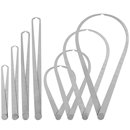 """Rustark 8 Pcs Stainless Steel Long Firm Joint Metal Measurement Kit with Bent-Leg and Straight-Leg Inside Outside Caliper Tools Set for Measuring Pottery Clay Ceramic Sculpture(12"""" 10"""" 8"""" 4"""")"""
