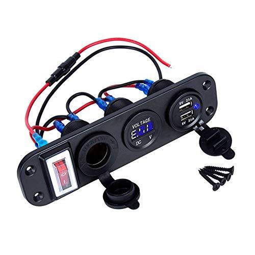ZHIXIANG 4 in 1 Nuovo Voltmetro Digitale + 12V Presa di Alimentazione + Dual USB Adattatore for Caricatore di Potere dello Zoccolo con Rocker Switch (Color Name : Blue)