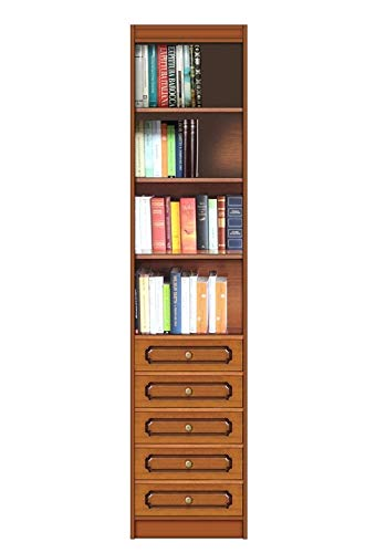 Arteferretto Meuble Colonne bibliothèque étagère de Rangement, bibliothèque Haute étroite avec 5 tiroirs et 4 Compartiments, livré monté