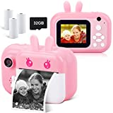Instant Camera for Kids Digital Camera for Girls Toddler Camera with Print Paper, 40MP Kids Video Camera Child Selfie Camera Toy Camera Kids Camcorder with 2.4 Inch Screen and 32GB TF Card (Pink)