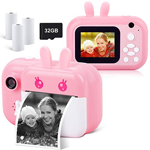 Instant Camera for Kids Digital Camera for Girls Toddler Camera with Print Paper, 24MP Kids Video Camera Child Selfie Camera Toy Camera Kids Camcorder with 2.4 Inch Screen and 32GB TF Card (Pink)
