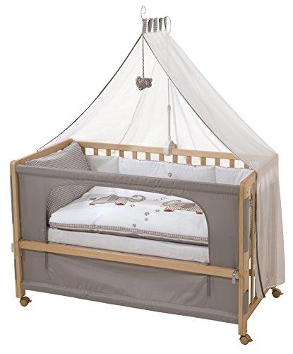 roba Beistellbett, Roombed, Babybett 60x120 cm 'Jumbo twins', Anstellbett zum Elternbett mit kompletter Ausstattung