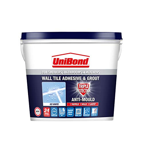Unibond Wall Tile Adhesive & Grout, Wall Adhesive for Showers, Bathrooms & Kitchens, Ready-to-Apply...