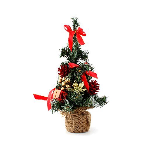 """10"""" Mini Home Office Bedroom Livingroom Desk Top Artifical Christmas Tree with Pinecone Bows Gifts Ornaments Decorations, Red"""