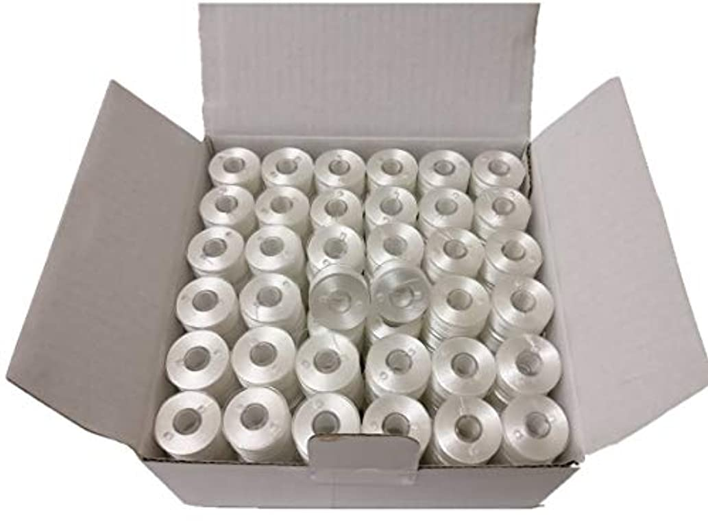 144pcs Prewound Bobbins for Brother Embroidery Machines, Plastic Sided, Size A, Class 15, 15J, Brother SA156, White Color, 100% Polyester, 60/S2 100 Yards
