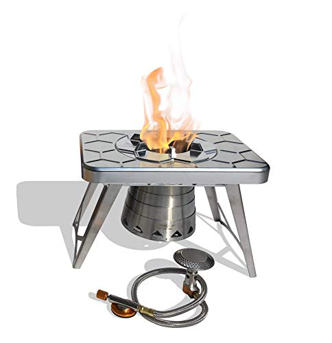 nCamp Stove Plus, Multi-Fuel Camping Stove, Portable and Compact, Includes Propane Adapter, Fuel Options Include ISO-Propane, Alcohol, Hexamine, Wood, or Composite Made for Backpacking Camp Hiking Out