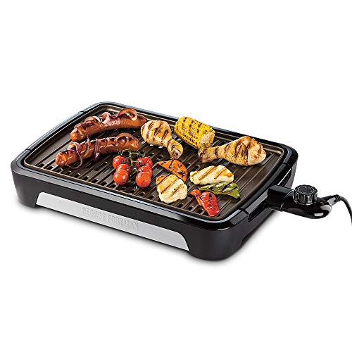 George Foreman 25850 Smokeless Electric Grill, Indoor BBQ and Griddle Hot Plate with Built In Drip Tray