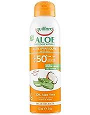Equilibra Protector Solar, Spray Leche Solar Spf 50+ Con Aloe Vera, Aceite de Coco Y de Argán Y Vitamina E, Pieles Delicadas, Protege Del Eritema Y Del Fotoenvejecimiento, Resistente Al Agua 150 ml