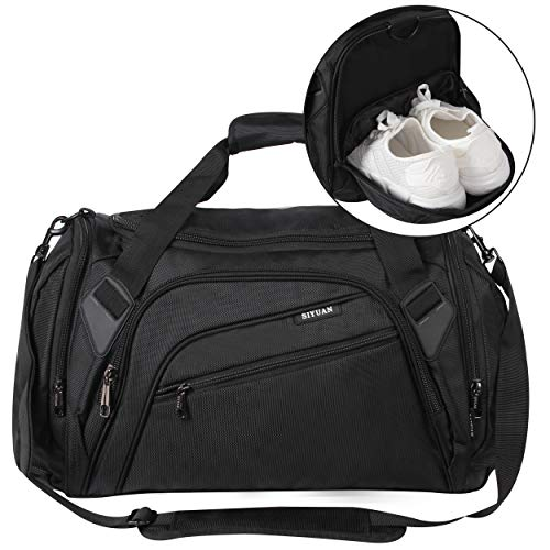 SIYUAN Black Gym Bag for Men, Sports Duffel, Athletic Exercise Big Training Boxing Equipment Bag with Shoe Compartment 66L 22 Inches Length, Black, X-Large