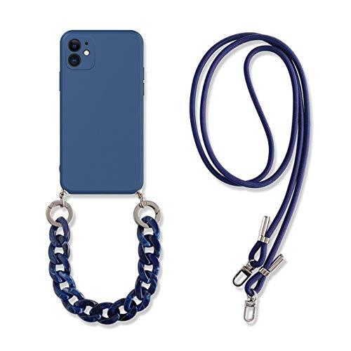 LIUYAWEI Lujo mármol ámbar Pulsera Collarcordón Funda para teléfono para iPhone 11 12 Pro MAX X XS XR 7 8 Plus Funda de Silicona Suave Funda, Zafiro, para iPhone 7