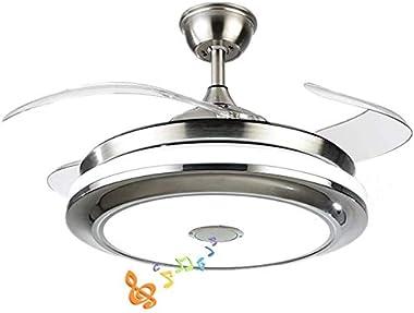 Efperfect - Ventilador de techo moderno de 42 pulgadas con luz Bluetooth reproductor de música ventiladores de techo, regulab