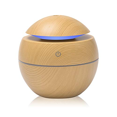 ZDZQTM Changeable Aroma Essential Oil Diffuser Mini USB Air Humidifier Portable Ultrasonic Mist Humidifier Air Purifier LED Night Light (Color : Yellow)