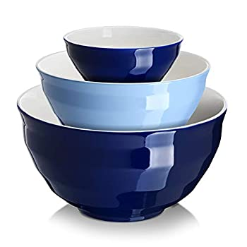 DOWAN Ceramic Mixing Bowls for Kitchen Size 4.25/2/0.5 Qt Large Serving Bowl Set Microwave and Dishwasher Safe Sturdy & No Scratch Nesting Bowls for Space Saving 3-Piece Set Blue