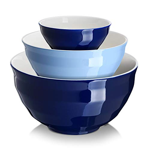 DOWAN Porcelain Mixing Bowls Set, Large Serving Bowls, Salad Mixing Bowls for Kitchen, Nesting Bowls, Oven/Microwave Safe, 4.25/2/0.5 Qt, Blue